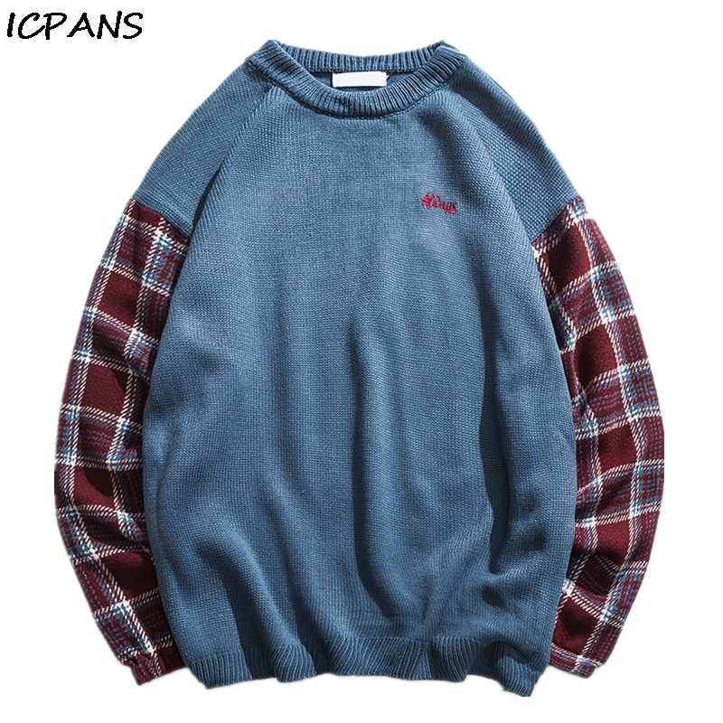 ICPANS 2019 Autumn Winter Sweater Men Japan Style Vintage Plaid Pullover Sweater Male loose Korean Trend O Neck Pullover