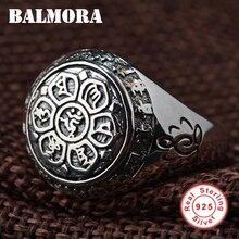 BALMORA Vintage 100% Real 925 Joyería de Plata Budista Seis Palabras Mantra Anillos para Las Mujeres de Los Hombres Amantes Regalos SY20992