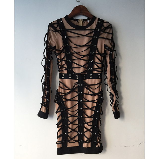 HIGH QUALITY Newest 2019 Baroque Runway Designer Dress Women s Long Sleeve  Luxurious Lacing Rope Stretch Bodycon Dress-in Dresses from Women s  Clothing on ... 4332a264df9e