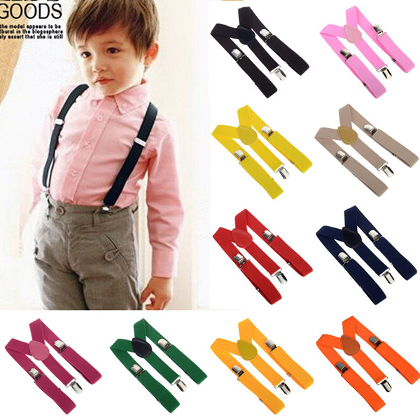 Free Shipping 2016 Unisex Kids Boy Girls Clip-on Suspenders with Adjustable Elastic Braces Children Apparel Accessories 6colors