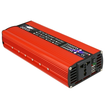 2000W Dual Usb Car Power Inverter Dc 12V Ac 220V Power Conversion Solar Inverter Multifunctional Travel Power Supply Control