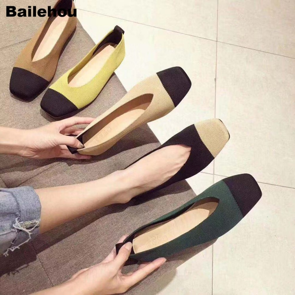 Women Flats Ballet Shoes Breathable Knitted V Square Toe Moccasins Thick Heels Mixed Color Flat Ballerina Shallow Female Shoes Women Flats Ballet Shoes Breathable Knitted V Square Toe Moccasins Thick Heels Mixed Color Flat Ballerina Shallow Female Shoes