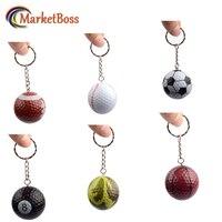 6 Stücke Mini Sport Balls Schlüsselanhänger Golf Ball Baseball Mit Schlüsselanhänger Großes Geschenk Metall Schlüsselbund Hohe Qualität