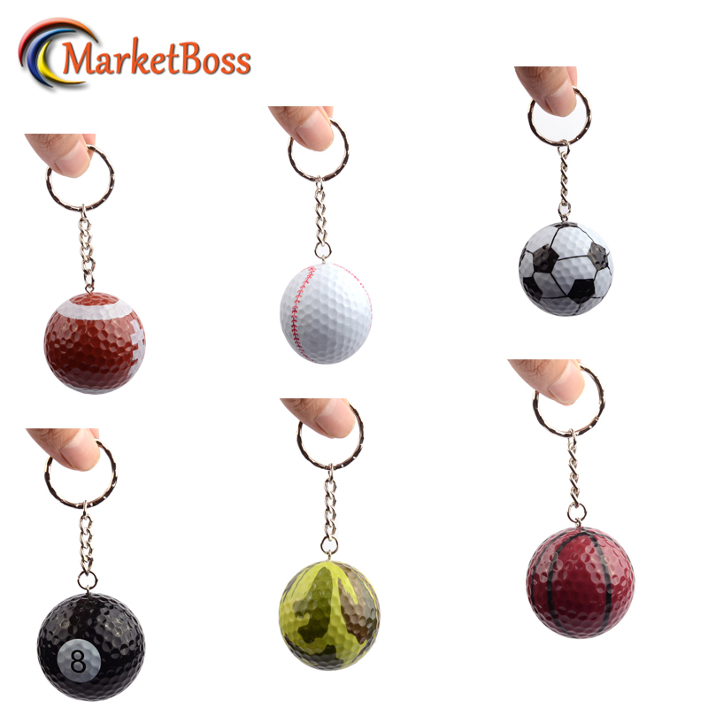 6Pcs Mini Sport Balls Key Chains Golf Ball Baseball With Key Ring Great Gift Metal Keychain High Quality