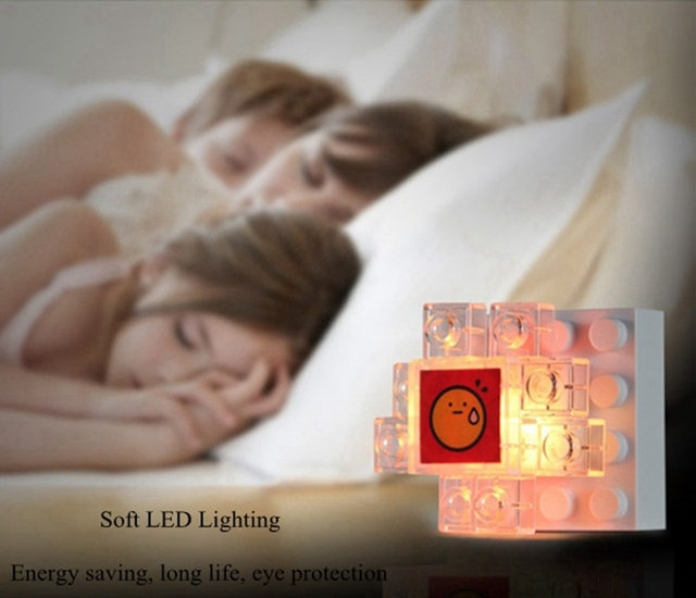 LED Colorful Building Block Frame Night Light Creative DIY photo lamps kidsToy USB lamps