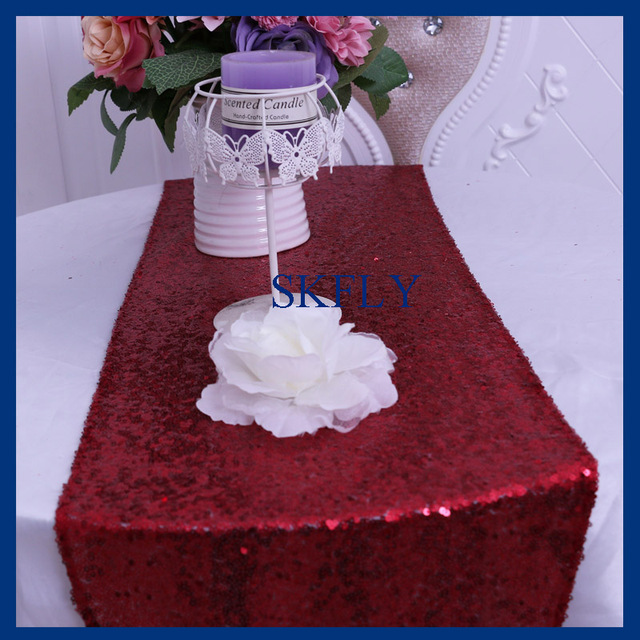 RU009N Cheap Wholesale Custom Made Glitter Metalic Sequence Wine Dark Red  Or Wine Sequin Table Runner