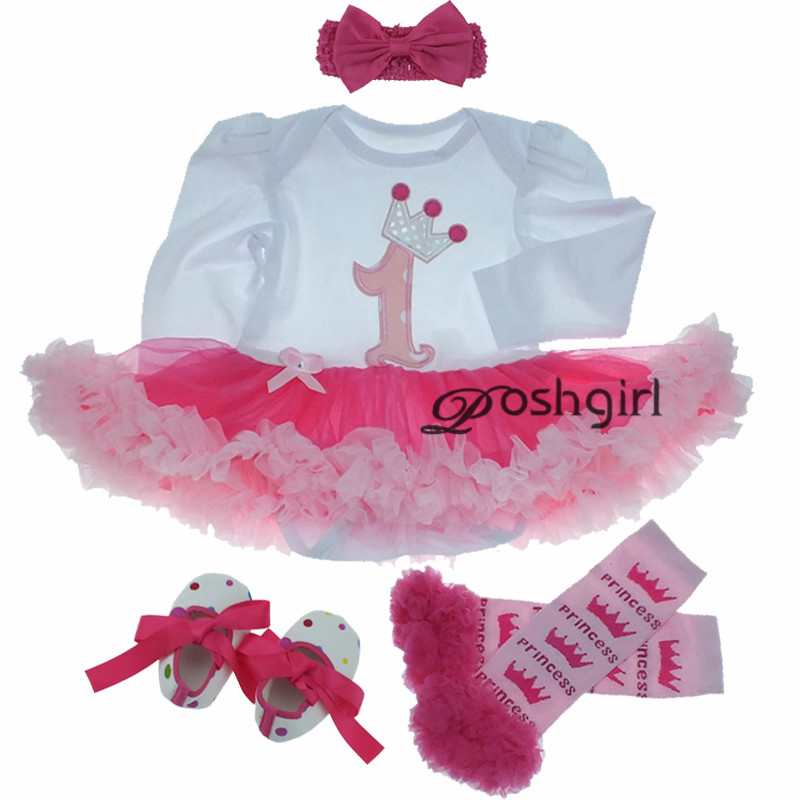 European Newborn Baby Toddler Clothes Set Spring Boutiques Baby Girls 1st Birthday Romper Dress 4pcs Set Tutu Dresses Infant Kid pink 1st birthday outfits for girls newborn infant lace tutu dress romper set 2017 vestido infantil toddler romper dress clothes