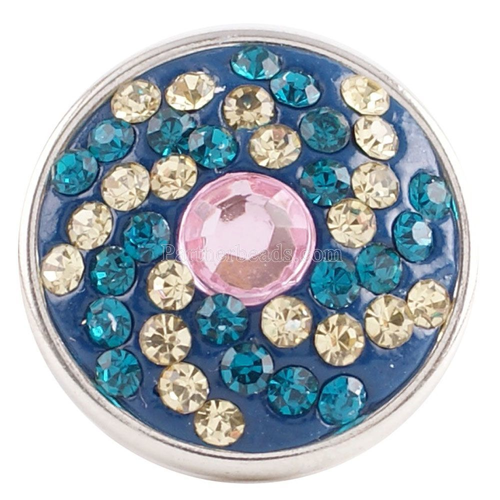 Partnerbeads Handmade 18MM Rhinestone Snap Buttons For DIY Snap Pendant High Quality Charm Jewelrys Wholesale KC2748