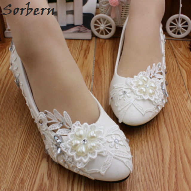 d4e9ed73f29d Sorbern White Beaded Lace Flower Ladies Shoes For Wedding Low Heels  Comfortable Bridal Shoes Crystals Chunky Heels Squared Heel