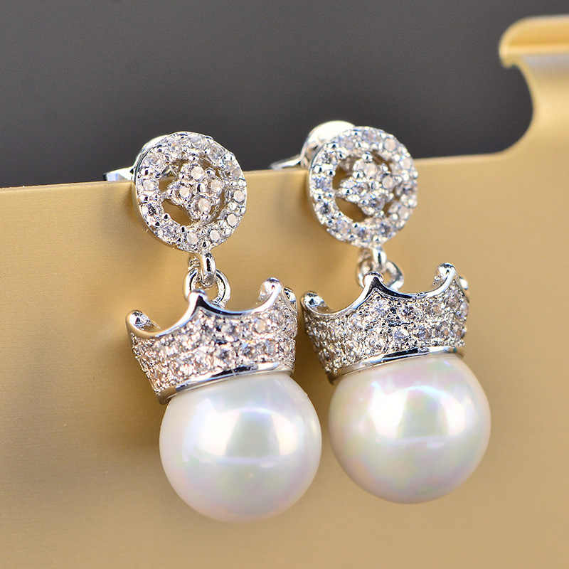 Glowing Charm White AAA Cubic Zirconia Pearl Fashion Jewelry 925 Sterling Silver Girls Ladies Stud Earrings HERE0046