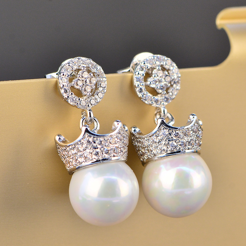 Glowing Charm White AAA Cubic Zirconia Pearl Fashion Jewelry 925 Sterling Silver Color Girls Ladies Stud Earrings HERE0046(China)