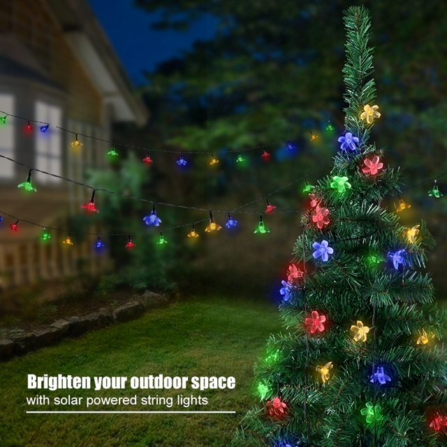 Litom Solar String Lights Waterproof Multi-Color 50 LED Blossom Decorative Light with 2 Switches for Party Christmas Festival