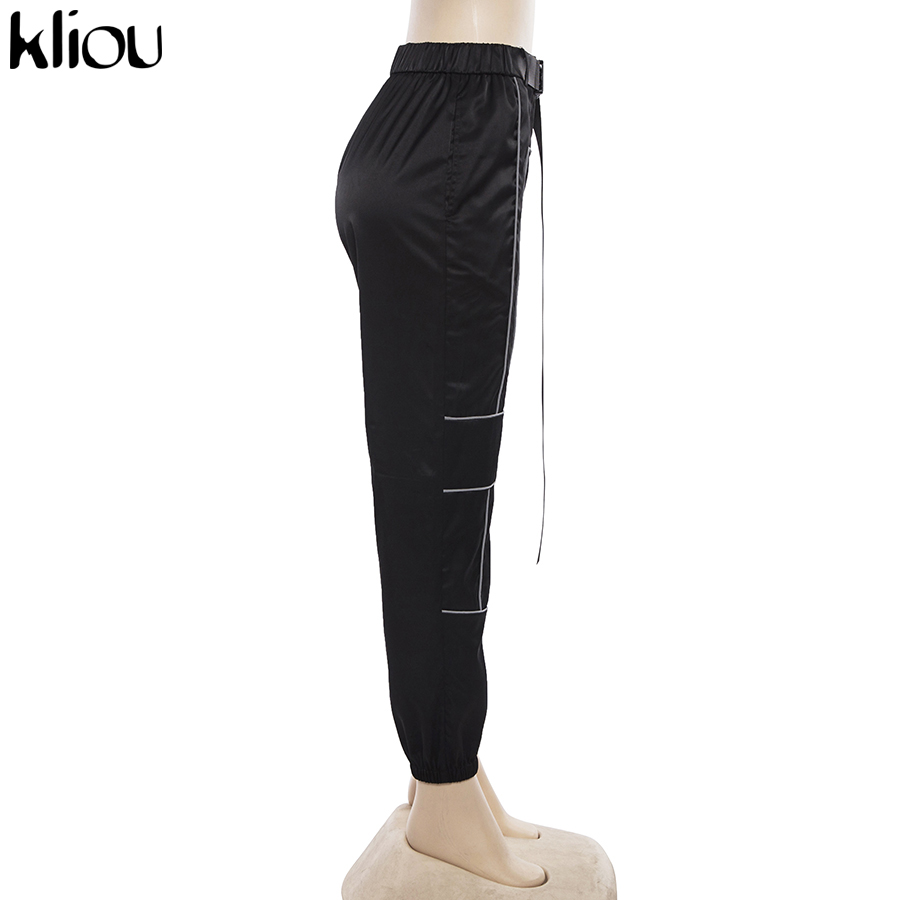 HTB1RlcQaXzsK1Rjy1Xbq6xOaFXa8 - Kliou women fashion street Reflective patchwork cargo pants 2019 new arrival zipper fly with sashes pockets knitted trousers