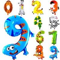 1Pcs Animal Number Foil Balloon Wedding Happy Birthday Party Decoration Balloons Kids Babys Children S Toys