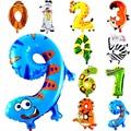 1 Unids Número Globo de la Hoja Feliz Cumpleaños Decoración Del Partido de La Boda Globos de Animales Niños de Babys Niños Juguetes Regalos
