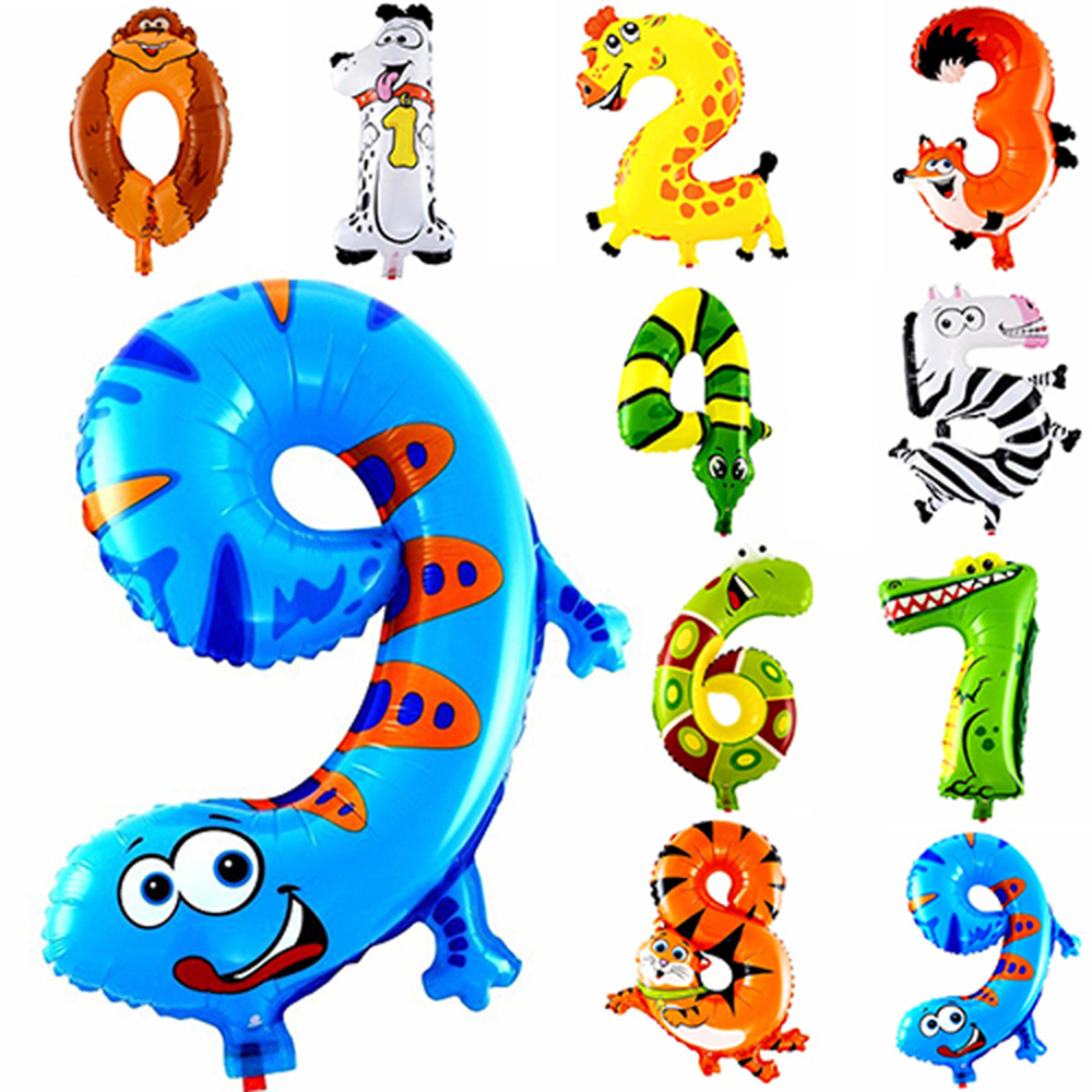 1Pcs Animal Number Foil Balloon Wedding Happy Birthday Party Decoration Balloons