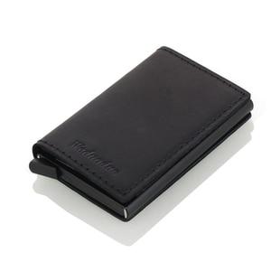 Image 3 - Weduoduo erkekler hakiki deri kartlık RFID Metal kredi kartı tutucu Anti theft erkekler cüzdan otomatik Pop Up kart kılıfı