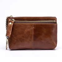 Europe And The United States Oil Wax Leather Zipper Clutch Cross The Money Square Fashion Leather