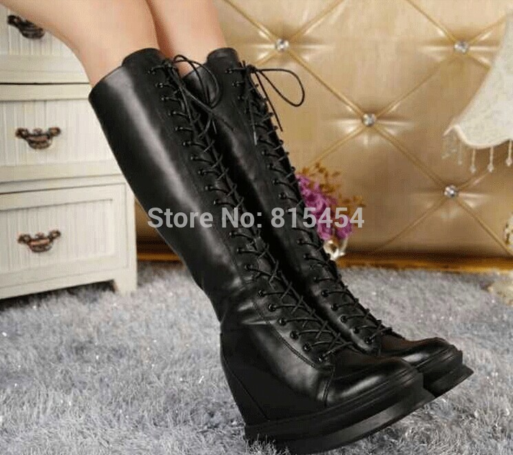 2015 Hot Selling Women Black Lace up Height Increasing Wedge Boots ...