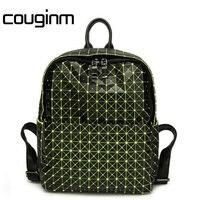 COUGINM Fashion Laser Backpack Diamond Lattice Geometry Quilted Bag Bao Bao Backpack For Teenage Girl Shoulder