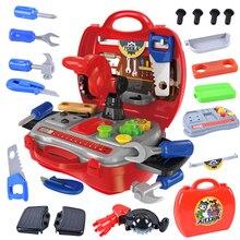 19ピース/セットシミュレーションエンジニアはbuildeロールプレイ親子インタラクションおもちゃツールボックスねじハンマー修復ツール子供男の子ギフト
