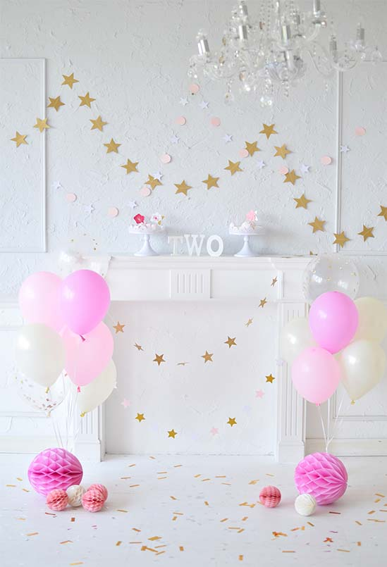 Thin Vinyl Pink Theme Balloons Happy Two Birthday Party