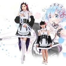 Re:zero Ram Rem Cosplay Dress Costumes Wigs Maid Servant Sui