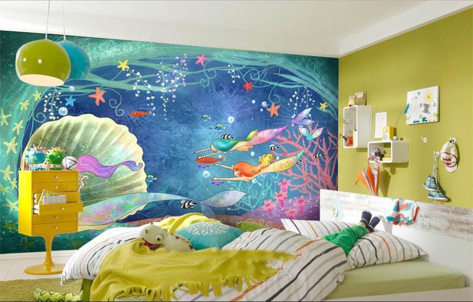 Custom 3d Photo Wallpaper Room Murals Little Mermaid Shell World Photo Kids  Room Sofa TV Background