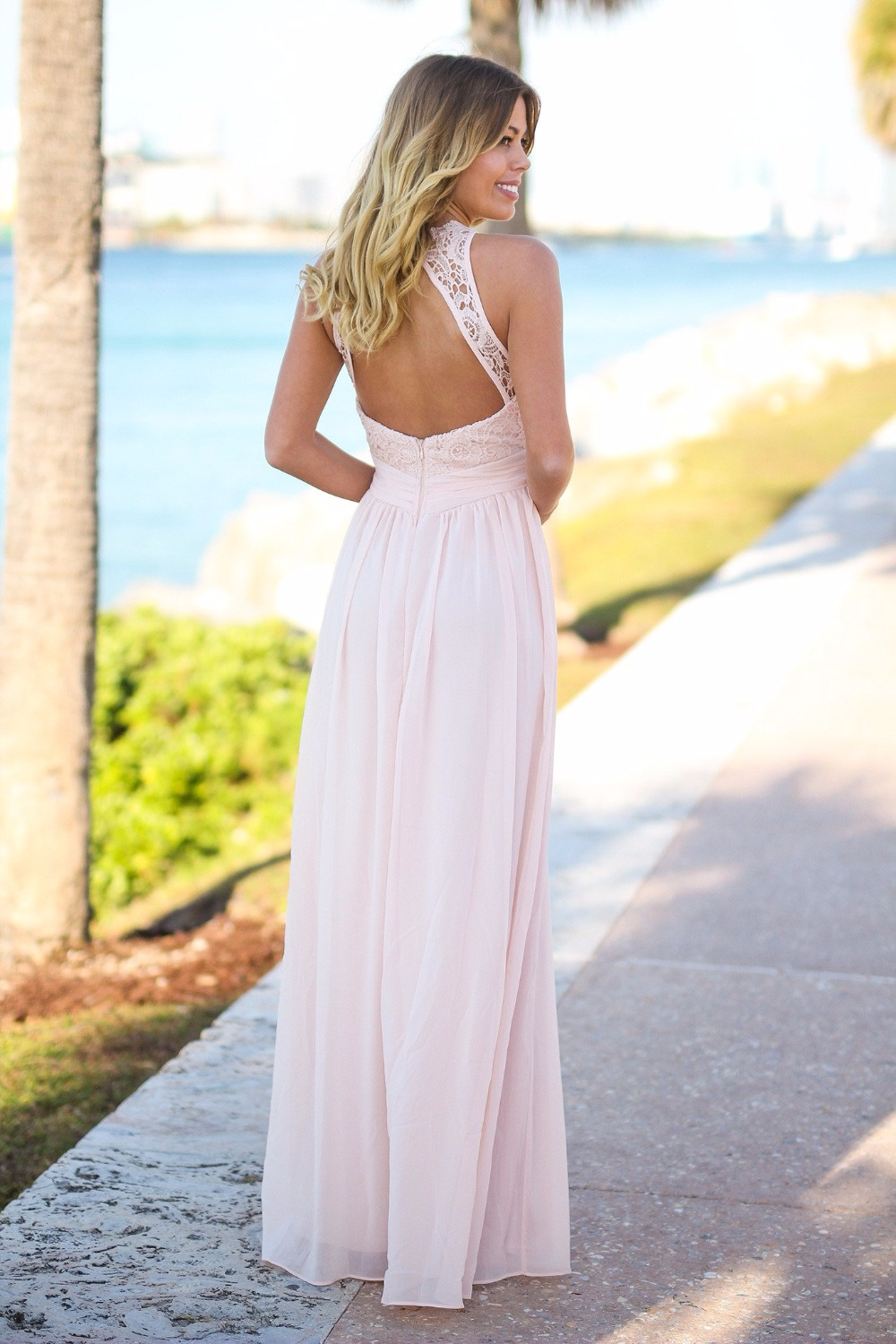 Light pink country long bridesmaid dresses sleeveless a line maxi light pink country long bridesmaid dresses sleeveless a line maxi lace top sexy open back beach bridesmaid gowns custom made in bridesmaid dresses from ombrellifo Gallery
