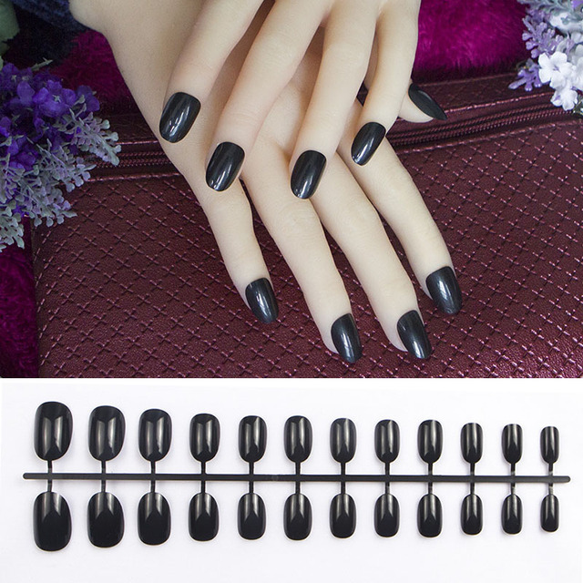 24pcs Black Acrylic Nails New Small Round Pink Red Short Oval Head Blue Fake