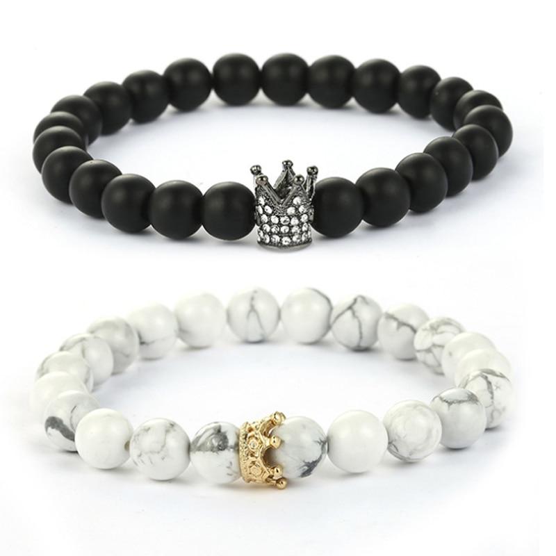 7683a376fc544 Pulseras de abalorios de piedras naturales en blanco y negro Bisel ...