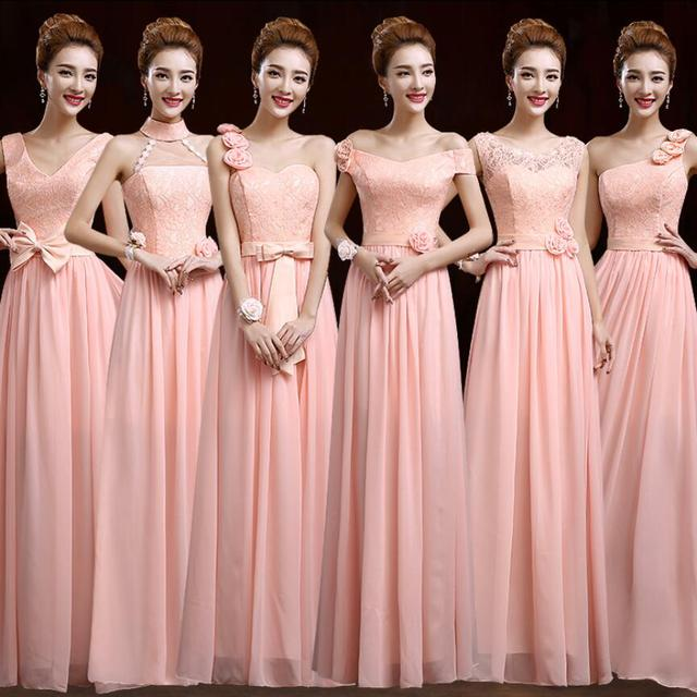 Nude Pink Gasa Largo vestido de Dama 2017 Nuevo 6 Diseños de Encaje ...
