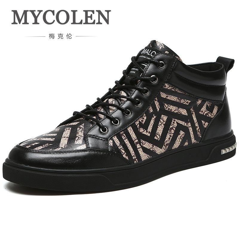 MYCOLEN 2018 Genuine Leather Men Boots Winter Warm Snow Boots New Fashion Luxury Brand Ankle Shoes Botas Militares Hombre