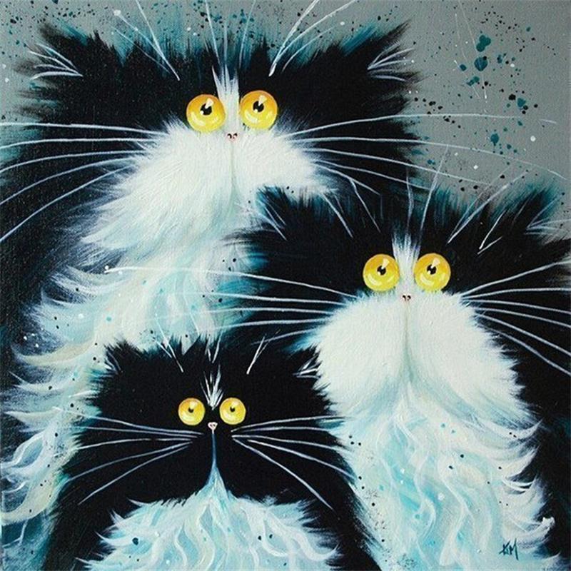 Вышивка стразами кошка