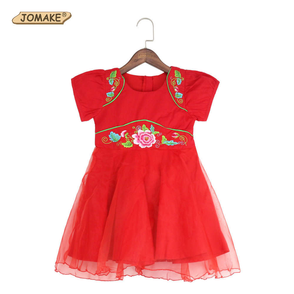 Girls Dresses Summer 2018 Chinese Red Floral Princess Tang Suit Party Costume For Kids Clothes Baby Girl Dress Children Clothing baby girls princess dress summer style floral kids clothes with bow belt flower girl wedding dresses for party children costume