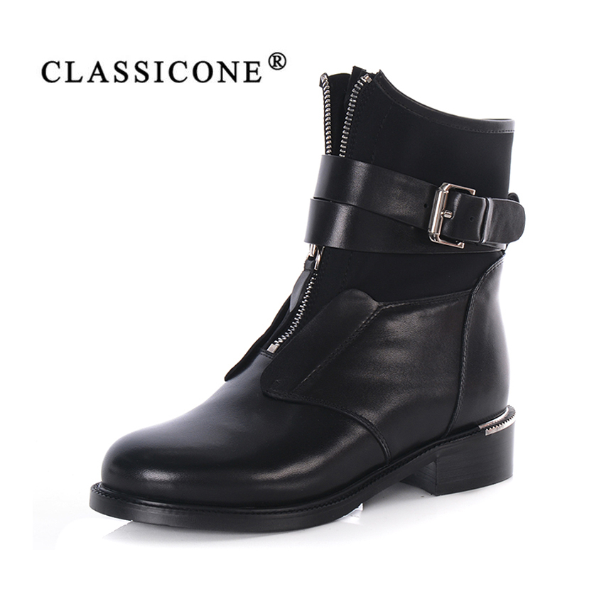 CLASSICONE women shoes 2018 winter warm wool fur snow boots women boots ankle boots women's flats with genuine leather fashion muhuisen winter men genuine leather shoes fashion casual plush warm boots lace up flats male snow boots fur inside comfort
