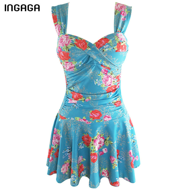 INGAGA 2018 New Dress Two-piece Swimwear Women Swimming Suit Floral Printed Swimsuit Bandage Swim Wear Retro Bathing Suits цена 2017