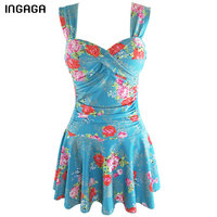 INGAGA 2018 New Dress One Piece Swimwear Women Swimming Suit Floral Retro Swimsuit Bandage Swim Wear