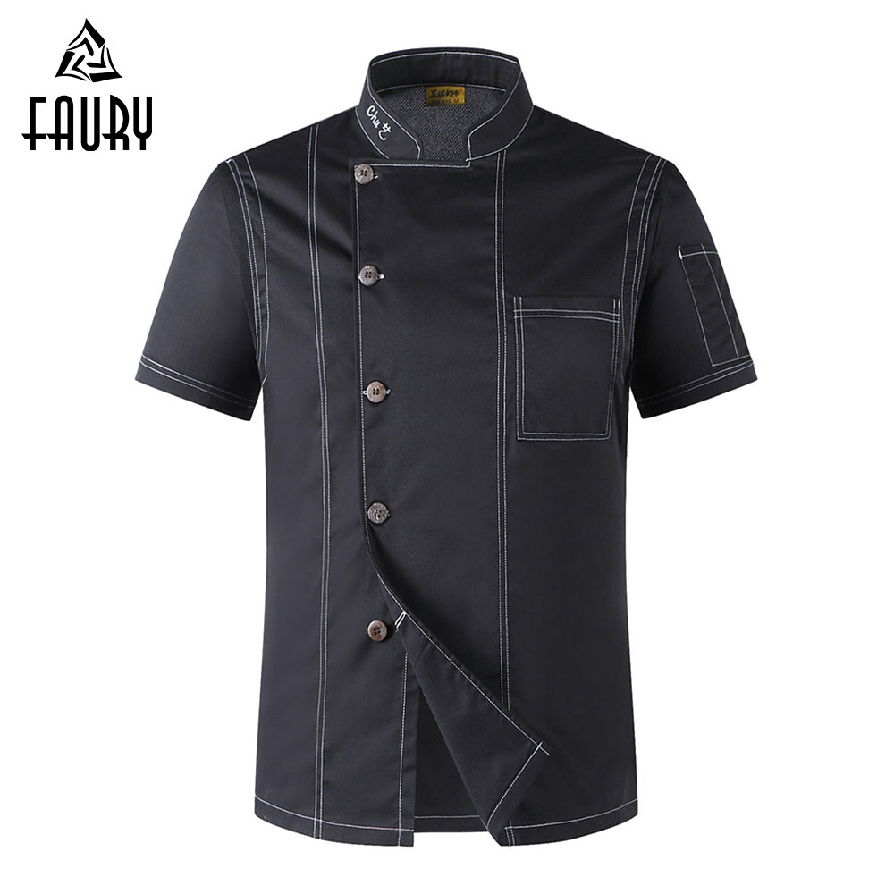 2018 Unisex Chef Uniform Cook Clothes Men Single Breasted High Quality Short-sleeved Kitchen Restaurant Bakery Waiter Tops Shirt