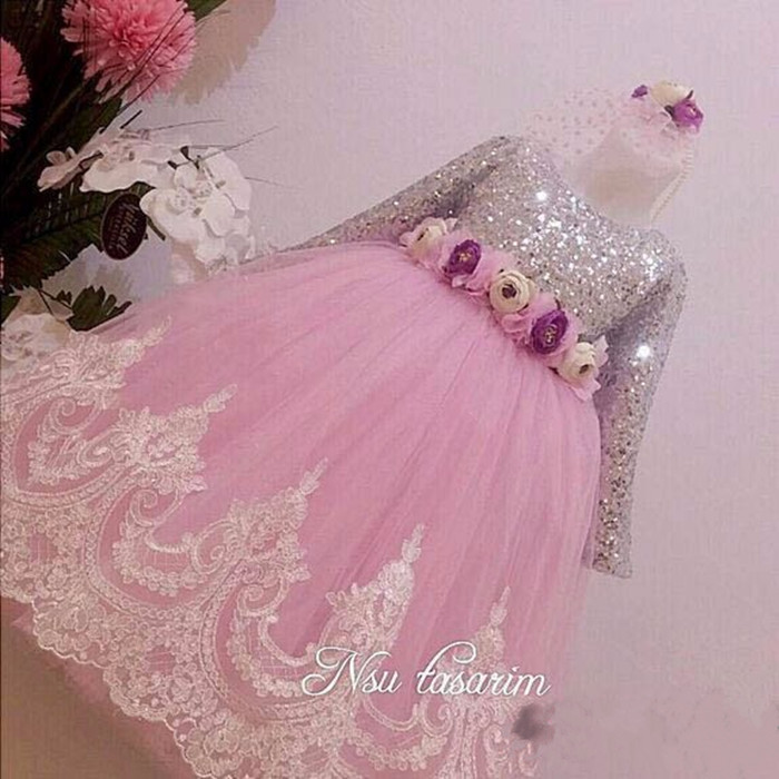 2017 Sparkly Sequins Hot Pink Lace flower girl dresses with Bow baby 1 year Birthday Party Dress ball gowns Long Sleeve Custom sliver bling sequins pink white lace baby birthday party dress flower girl dress