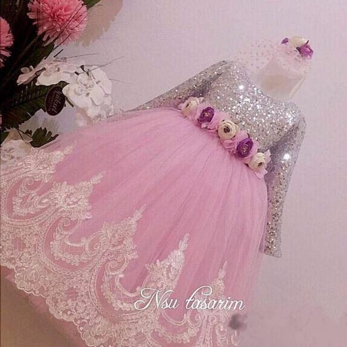 Compra rosa brillante vestido con mangas online al por mayor de ...