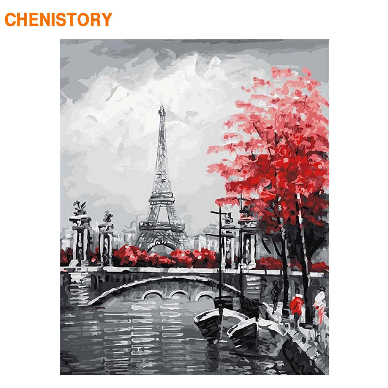 CHENISTORY Frameless Abstract Paris Landscape DIY Painting By Numbers Modern Wall Art Calligraphy Painting Unique Gift For Home