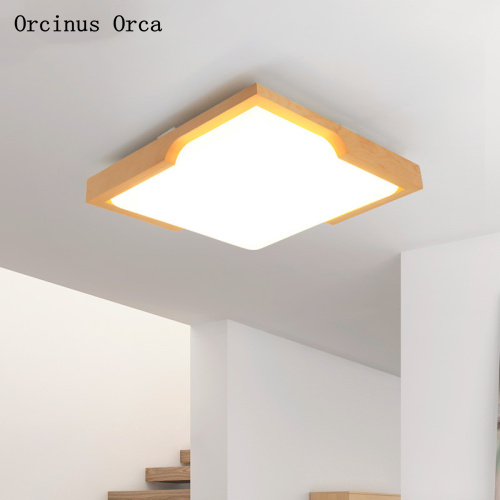 Nordic modern simple log LED ceiling lamp living room dining room bedroom Japanese creative personality square ceiling lamp|Ceiling Lights| |  - title=