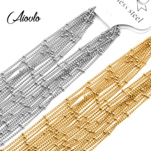 Aiovlo 10pcs/lot Width 1.5mm Stainless Steel Bead Chain Necklace Chains for DIY Jewelry Findings Making Materials Accessories