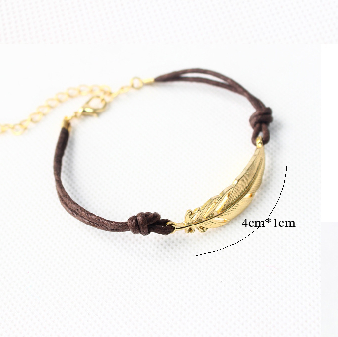 Women Gold Feather Charm Bracelets New Style Fashion Leather Bangles For Men In From Jewelry Accessories On