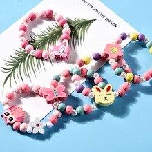 Игрушечное ожерелье с бусинами для девочек, браслет с бабочками и цветами, детское ожерелье ручной работы, аксессуары для принцессы, подарки на день рождения