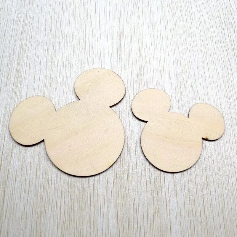 50x Mickey Mouse Laser Cut Unfinished Wood Shapes