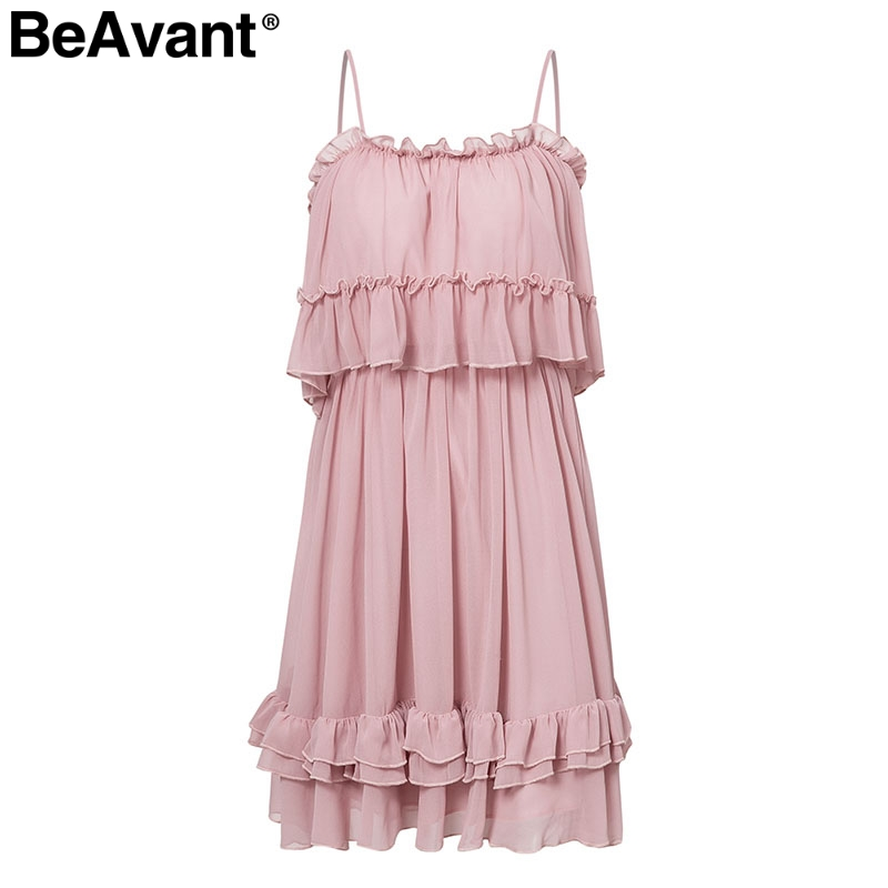 HTB1RleGaUzrK1RjSspmq6AOdFXal - BeAvant Off shoulder strap chiffon summer dresses Women ruffle pleated short dress pink Elegant holiday loose beach mini dress