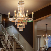 Home lighting living room dining room chandeliers circle led ring chandelier with led lights Classical iron crystal light