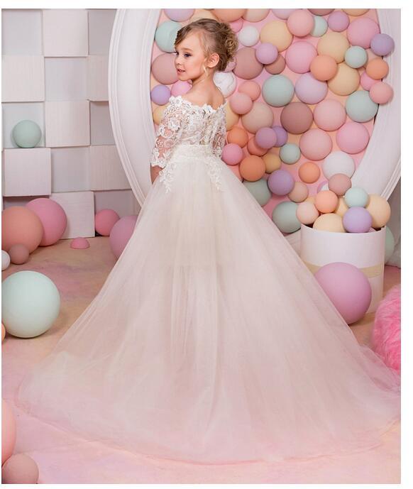 Girl's Pageant Formal Dresses 2017 Lace Flowers Girls Princess Dresses Kids Gauze Birthday Children Detachable Wedding Dress